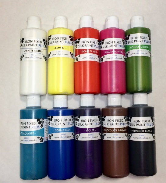 Silkcraft Plus Iron Fixed Silk paint 200ml x 10 pack