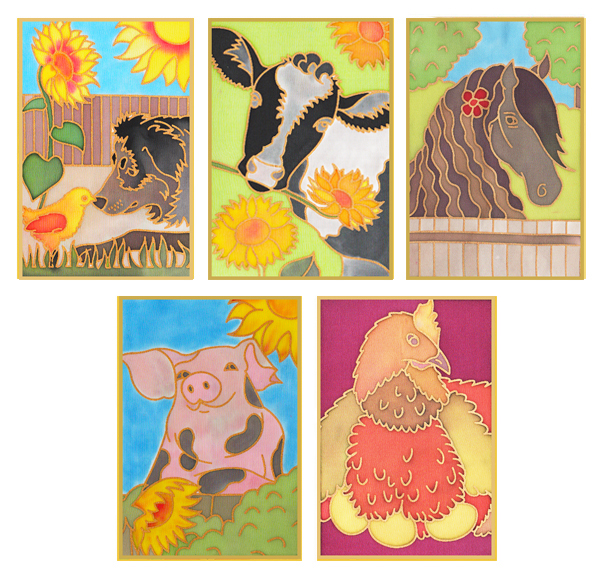 Pack of 5 Assorted Gutta Outlines - Farmyard Pack