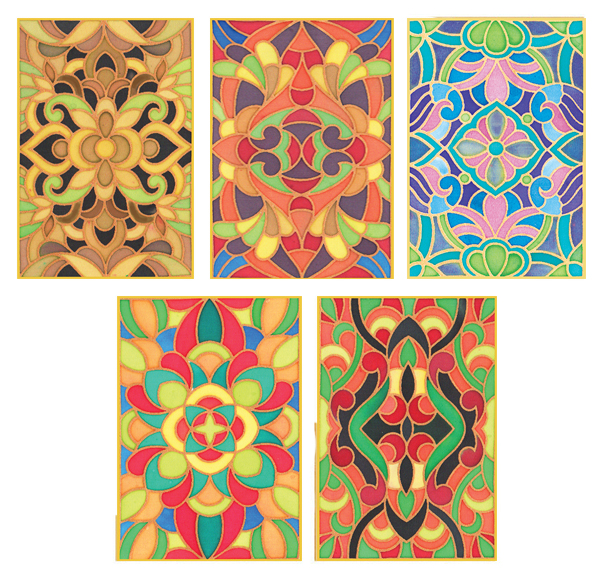 Pack of 5 Assorted Gutta Outlines -Kaleidoscope Pack