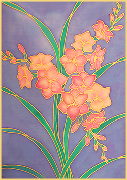 Gutta Printed silk A4 - Freesia design- Approx 20x 29cm