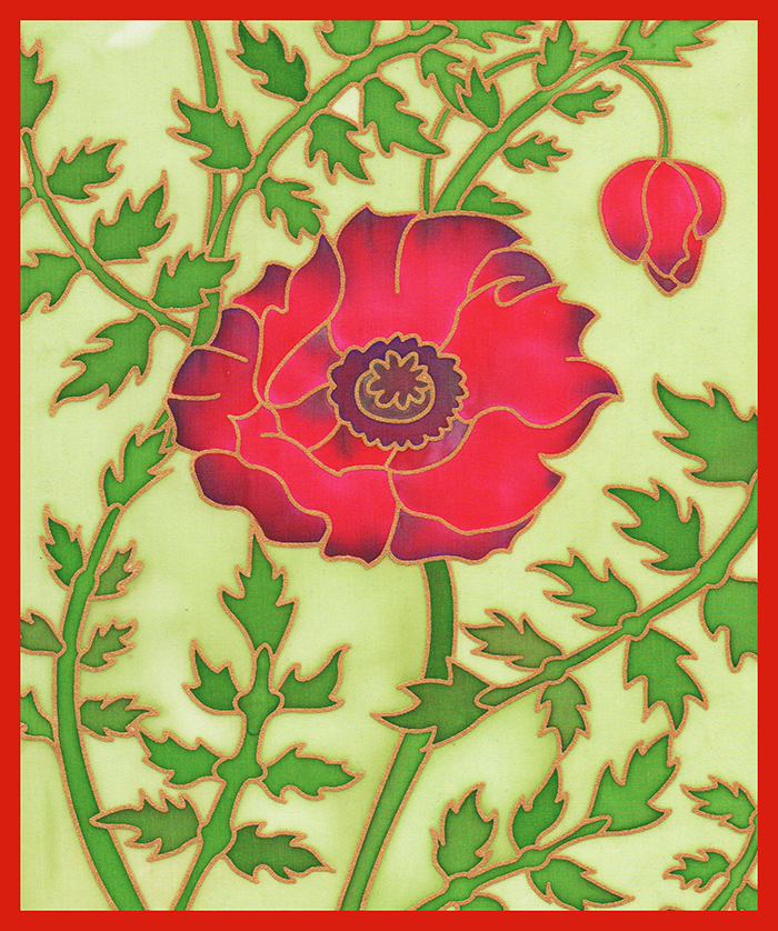 Gutta Printed silk  - Poppy design- Approx 20x 25cm
