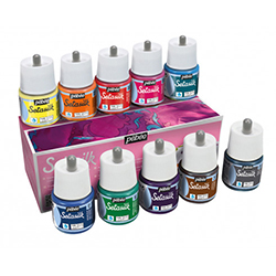Set of 10 x Pebeo Setasilk silk paint - 45ml bottles