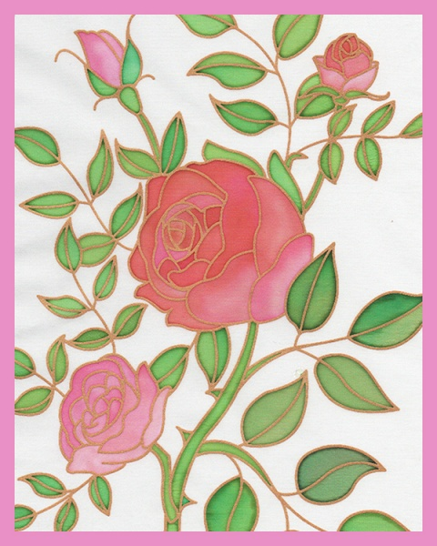 Gutta Printed silk  - Rose design- Approx 20x 25cm