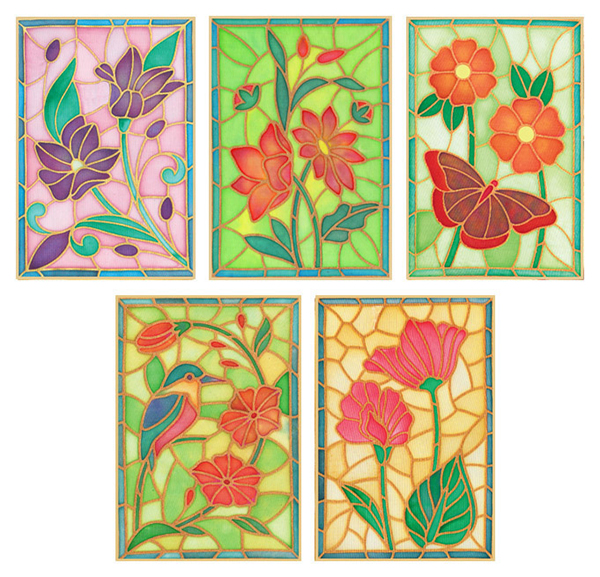 Pack of 5 Assorted Gutta Outlines - Stained Glass Pack